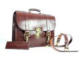 Pilot / Litigation Triple Section Large Hand Stitched English Bridle Leather Briefcase