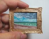 Miniature 1:12 Scale Handmade Original Oil Painting for Collectors / Dollhouse Artwork / Fridge Magnet / Fine Art / Beach Storm