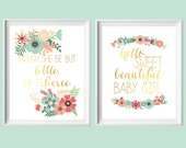 Pink Aqua Coral Nursery Art-Set of Two 8x10 Though She Be But Little, Hello Sweet Beautiful Girl Prints by paper and palette