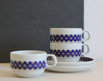 SALE 50 OFF Vintage Coffee Cups and Saucers Set White Blue Coimbra Portugal Retro Pattern Coffee Lovers Gift