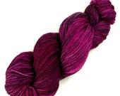 Paleo-Indian Woolens:153 Deep Wine Orchid - 100% Superwash Merino Handpainted Worsted Weight Yarn - violet purple lavender lilac plum