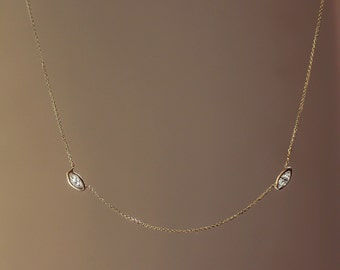 Diamond Station Necklace, Marquis Cut Diamonds