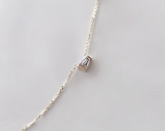 14k Gold .07 ct Petite Tapered Baguette Diamond Necklace