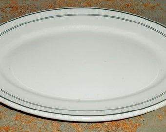 Vintage Platters, Carr China, The Harvard, Green, Oval, Serving Platter, Restaurant Ware, Cafe Ware, Fisher, Bruce & Co.