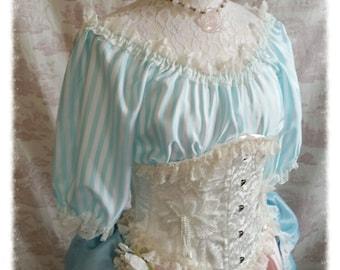 Candy Stripe Burlesque Wedding Boudoir Top Romantic Lolita Bridal By Ophelias Folly