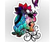 Skull Sticker Floral Butterfly Vinyl Decal