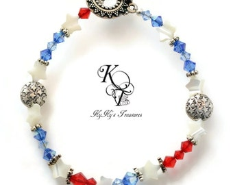 Red White and Blue Bracelet, July 4th Jewelry, Patriotic Jewelry, Patriotic Bracelet, Fourth of July Bracelet, Star Bracelet, Star Jewelry