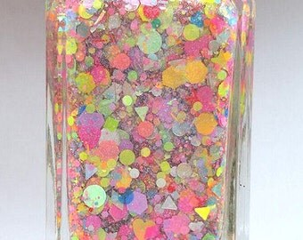 Unicorn Princess - handmade neon glitter summer nail polish