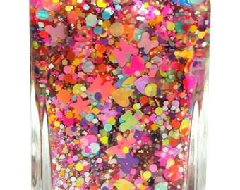 Butterfly Candy - handmade neon glitter nail polish