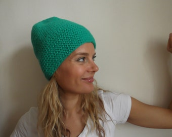 Hand knit green wool beanie