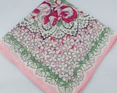 RESERVED FOR KAREN Vintage Hankie Handkerchief, Pink on Pink on White, Great  for  Framing, Sewing, Crafts, Collage    G42