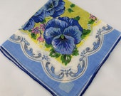 Vintage Hankie Handkerchief, Dead Stock, Blue Hollyhock (Possibly), Great  for  Framing, Sewing, Crafts, Collage    G34