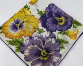 Vintage Hankie Handkerchief, Dead Stock, Purple and Yellow Flowers, Great  for  Framing, Sewing, Crafts, Collage    G32