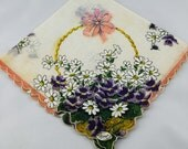 Vintage Hankie Handkerchief, Dead Stock, Basket of Lavendar Flowers, Great  for  Framing, Sewing, Crafts, Collage  G13
