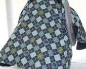 Car Seat Canopy - Blue and Green Argyle with Elephants