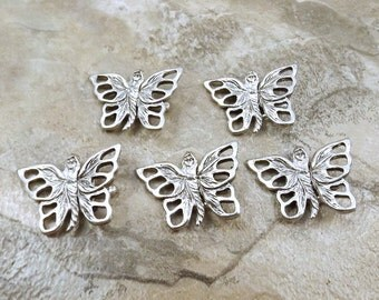 Set of 5 Pewter Butterfly Jewelry Clasps -5187