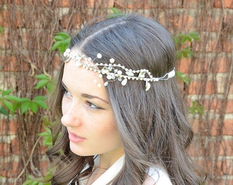 bridal hair accessories, Silver tone Rhinestone Headpiece, Bridal Headband, Bridal Halo, Prom Hair Accessories, Crystal Tiara