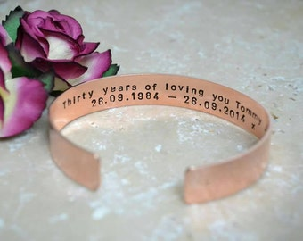 Hand stamped cuff copper Cuff bracelet personalised unisex bangle daddy mens