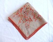 Vintage silk handkerchief - 1930s silk handkerchief - orange floral handkerchief - vintage floral handkerchief - floral silk handkerchief