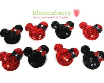 """1.5"""" Sequin Micky Mouse with Bows Padded - Black and Red - Micky Mouse Appliques - DIY Headband/Hair Bow/Hair Accessories Supplies"""