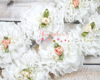 """2"""" Fancy Shabby Rose Trim  - White Color - White Shabby Rose Trim - White Chiffon Trim - White Shabby Rosettes- Hair Accessories Supplies"""
