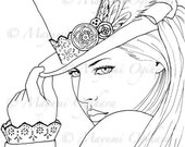 Steampunk Melancholia - digital stamp, colouring page, printable, instant download