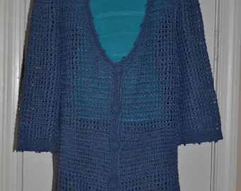 Shadow Blue Hand Made, Crocheted Shirt - Sizes 0 to 20