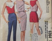 Vintage 1962 McCalls Sewing Pattern For Misses Skirt, Shorts, Pants, And Top