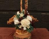 Winter White Flower Girl Basket, Princess Vine Basket, Winter Rose Basket, Rustic Winter Flower Girl Basket, Flower Girl, Holiday Basket