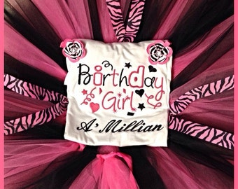 Pink and blabk zebra print birthday outfit tutu and embroidered shirt personalized with name embroidery