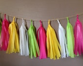 Pink Garden Party - Tissue Paper Garland - 50 tassels - 10 feet