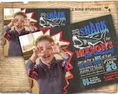 Shark party invitation - Shark birthday invitation - Shark birthday party invitation - Chalkboard invite Pool party summer DIY