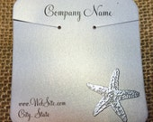 20 Elegant Starfish Necklace Display Cards - Hand Stamped & Embossed Starfish, Customize Any Embossing Color (Silver, Bronze, misc)