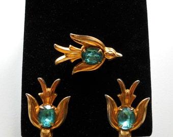 Vintage Early CORO Swallows Rhinestone Bird Earrings & Pin Set Circa 1945