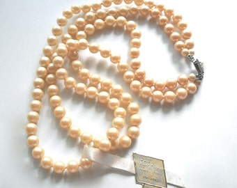 MILADY Vintage Pearl Two Strand Necklace Rhinestone Clasp Circa 1950 with Tag