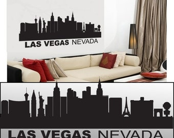 "Wall Decal Sticker Las Vegas Skyline 22"" Tall 55"" Wide in White or Black"