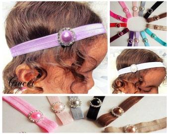 Rhinestone Headband - Jewelled Headband- Newborn Headbands - Baby Headband - Halo - Photography Prop - You Choose Color- FB fans 15% OFF