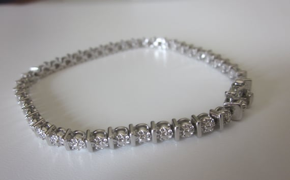 Vintage Stamped 925 Silver Tennis Bracelet With Safety Push In