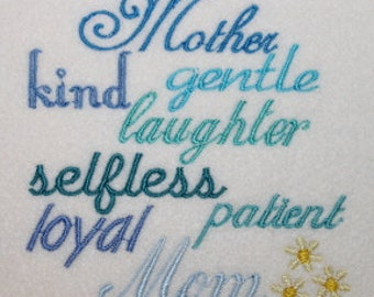 A Mother is ....saying  Mothers Day Digitized Machine Embroidery Design Graduation Mom Mum Mother