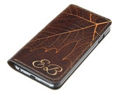 Leaf Design - iPhone 6 Leather Wallet Case / iPhone 6 Leather Wallet / iPhone 6 Leather Case / iPhone 6 Leather Sleeve / Free Initials