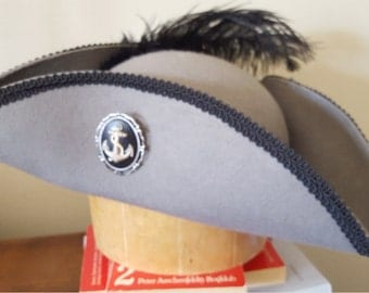 Tricorn style pirate hat gray with black trim