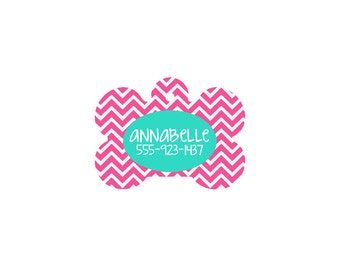Personalized Pet Id Tags in Chevron Print with 4 colors to choose from!