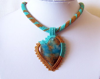 Heart Necklace - Beadwork Bead Embroidery Pendant Necklace with Blue Lace Chalcedony - A Different Heart - statement necklace - mode