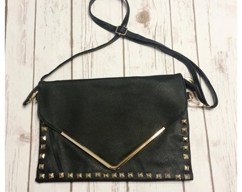 Black studded envelope purse