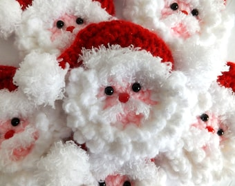 2 Crocheted Santa Face Christmas Ornaments