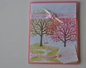 Hand stamped Blooming Tree Card, choose the sentiment for your occasion