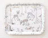 Christmas gifts for her, Decorative Birch Tray Printed, Deers in woods print, Breakfast Tray, Trays & Platters, Kitchen and Dining,