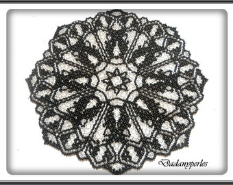 pattern bead weaving doily black and silver