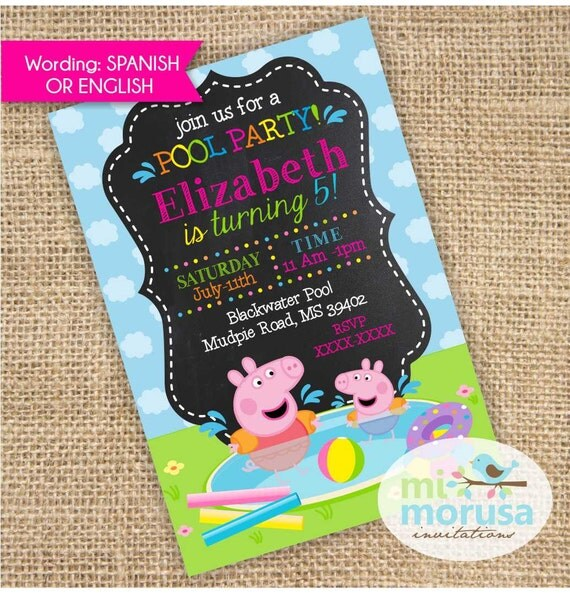 Peppa Pig George Pool Party Swimming Fun By Mimorusa On Etsy