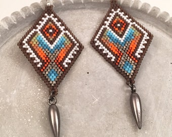 Colorful Seed Beaded Diamond Dangle & Drop Earrings